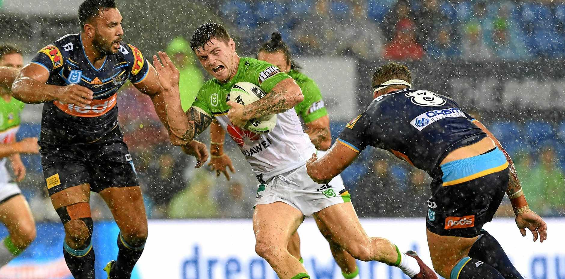 IN ACTION: John Bateman of the Raiders during the Round 1 NRL match between the Gold Coast Titans and the Canberra Raiders at CBus Super Stadium on the Gold Coast on Sunday.
