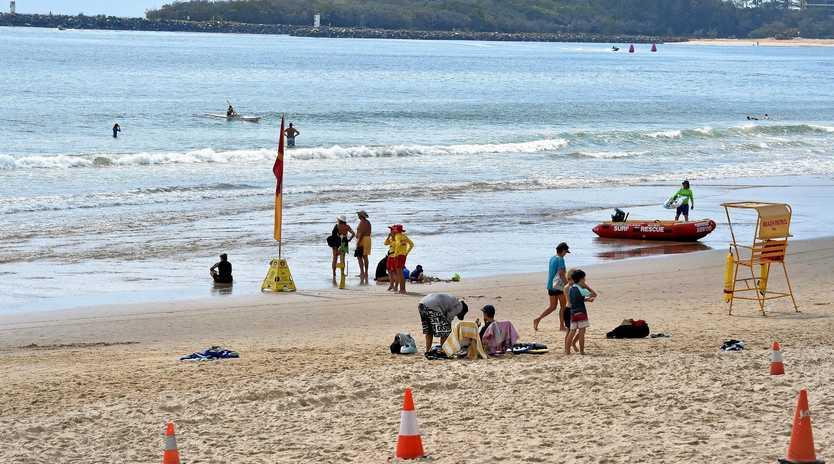 NO JOY: Mooloolaba Beach was flat last Sunday.