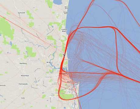 MAP: Airservices Australia mapping shows current jet flight paths on the existing runway at Sunshine Coast Runway.