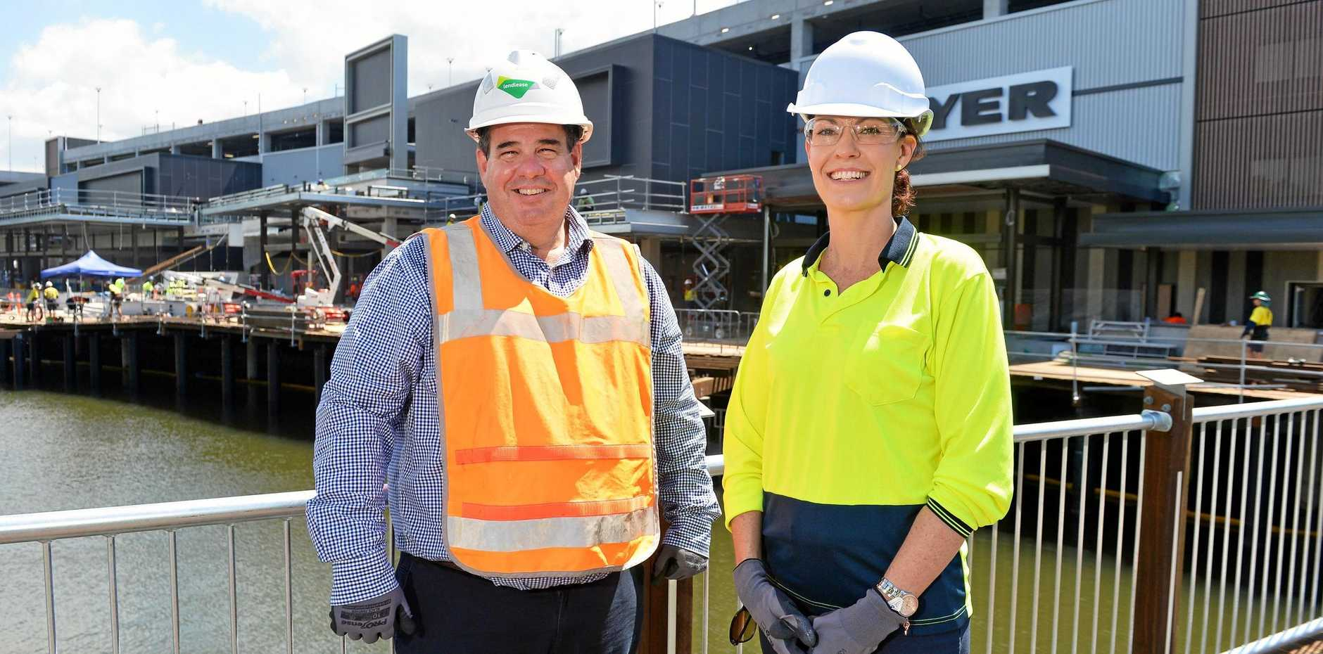 Sunshine Plaza centre manager Michael Manwaring and marketing manager Kylie Riches have some sleepless nights ahead of them as they prepare for the opening of Stage 2 of the $440 million redevelopment next Thursday.