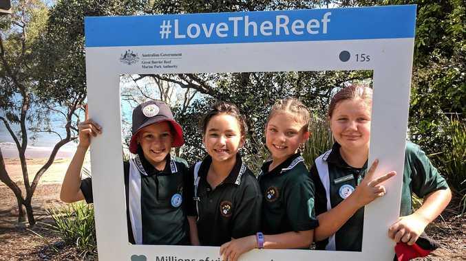 ECO GUARDIANS: Kin Kora State School Year 5 students Jaya Cawthorne, Bailee Thompson, Melia Sorrensen and Morgan Allen.
