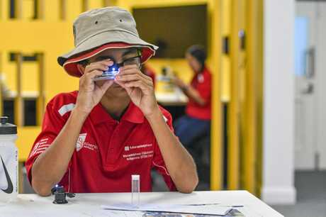 LIFE LEARNING: Eli Williams, 13, from Toolooa  High School at the inaugural indigenous STEM camp.