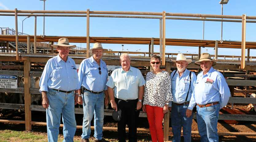 PRIME TOUR: Saleyards guides James Stinson, Peter Nichol and Lloyd Harth with Cr Peter Flynn and Cr Puddy Chandler.