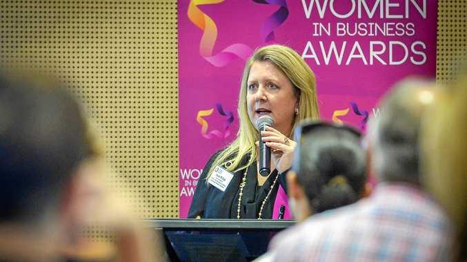 OVERWHELMED: Women in Business Awards of Australia executive director Karen Phillips speaks at the launch of the CQ Women in Business awards.
