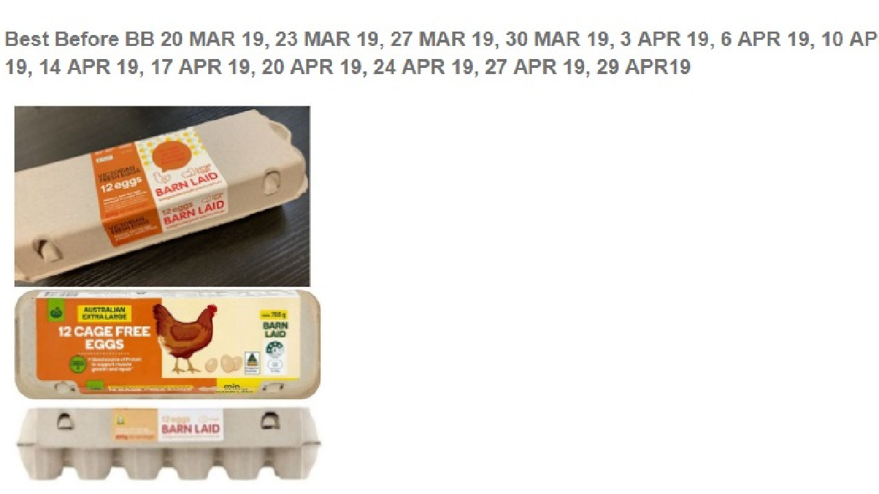 Eggs being recalled for potential salmonella.