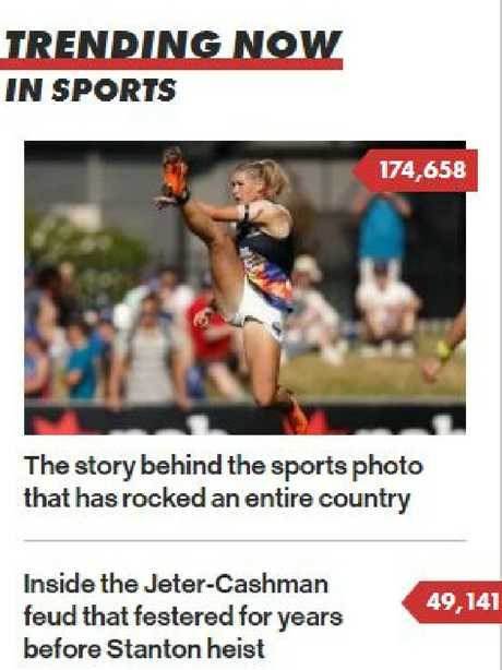 Tayla Harris was the most read story on the New York Post on Thursday morning.