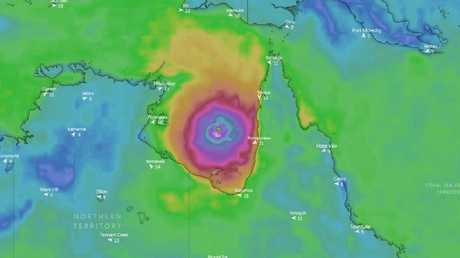 The expected location of Cyclone Trevor in the Gulf of Carpentaria on Friday. Picture: Windy