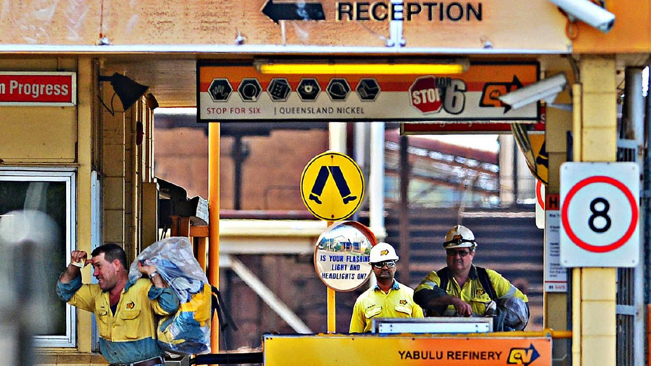 Queensland Nickel workers leave the Yabulu refinery for the last time with their belongings. Picture: Zak Simmonds