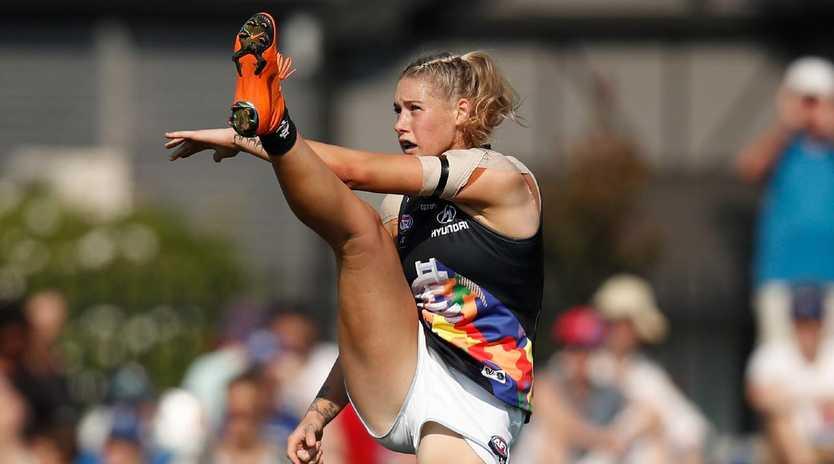 Tayla Harris will keep on kicking. (Photo by Michael Willson/AFL Media)