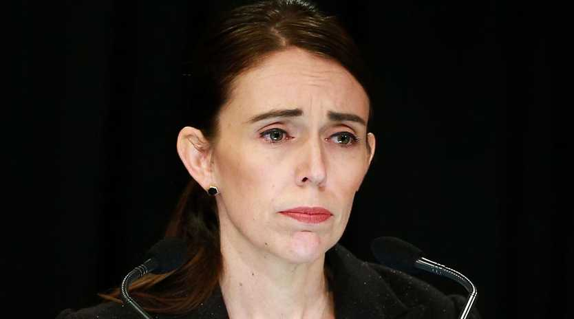 Prime Minister Jacinda Ardern announces today that New Zealand will ban all military style semiautomatics and assault rifles. Picture: Hagen Hopkins/Getty Images