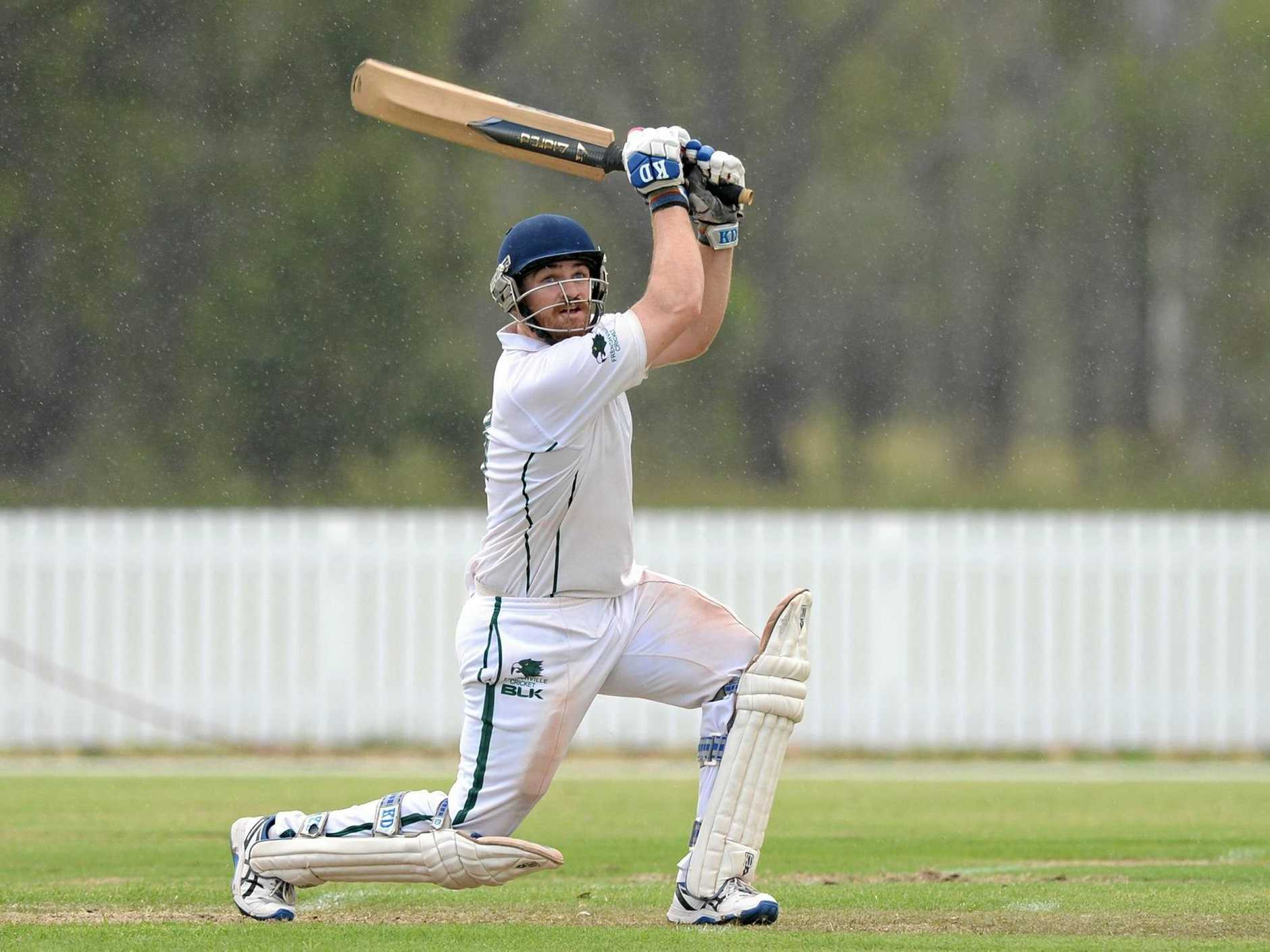 Frenchville player Lachlan Hartley  in the grand final cricket game against Gracemere.