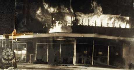 Blaze at firebombed Whiskey Au Go Go nightclub in Brisbane on March 8, 1973, where 15 people died.
