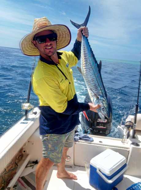 Jules with his first Spanish Mackerel (one metre), which is also the biggest fish he has caught yet.