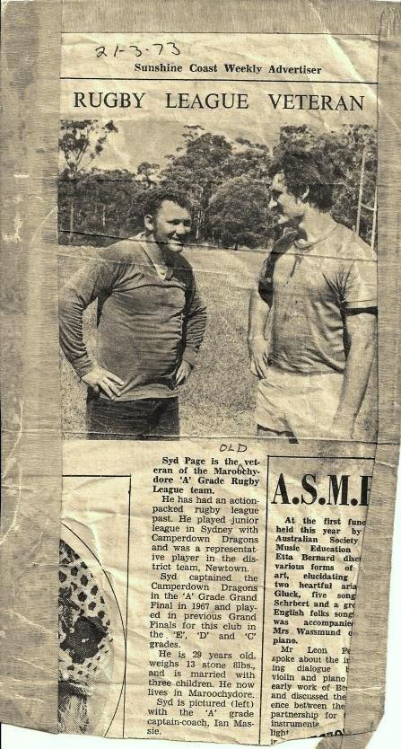 A newspaper cut out of Sid Page and Ian Massie in the early days of Maroochydore Swans.