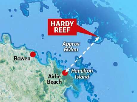 The site of the helicopter crash at Hardy Reef.
