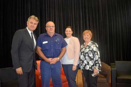 STATE OF THE REGION: Futurist Bernard Salt in Gympie on Thursday with Michael Nolan, Julie Williams and Julie Worth.