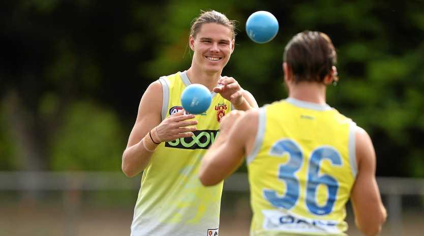 Eric Hipwood works on his ball skills at training.