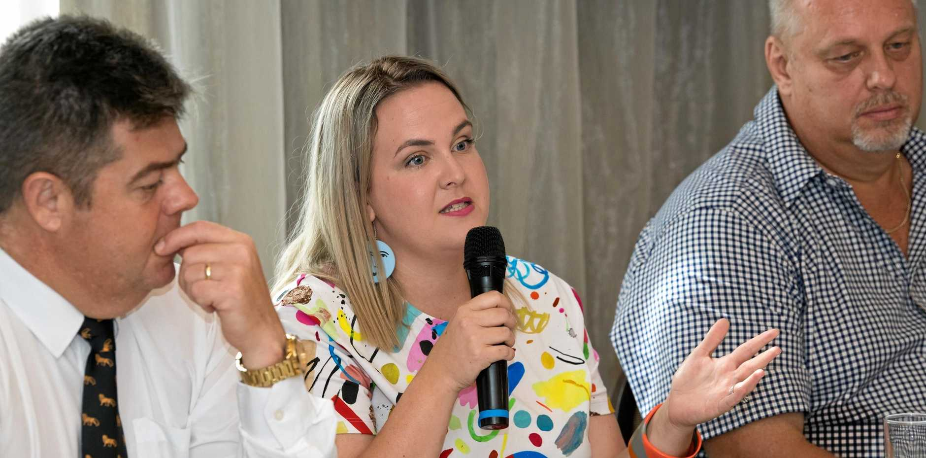 Just Saying Project founder Fallon Drewett speaks at the Future Mackay event at Harrup Park.