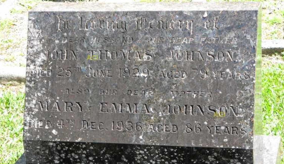 Mary Emma Johnson's grave.