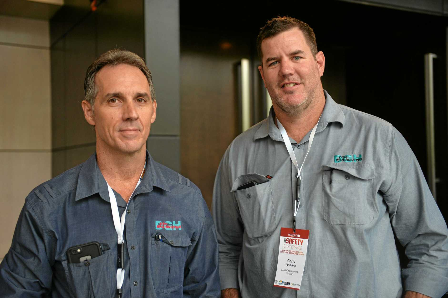 "SAFETY FIRST"" DGH Engineering representatives Chris Tambling, left, and Trevor Wellby attended the Resource Industry Network's safety conference."