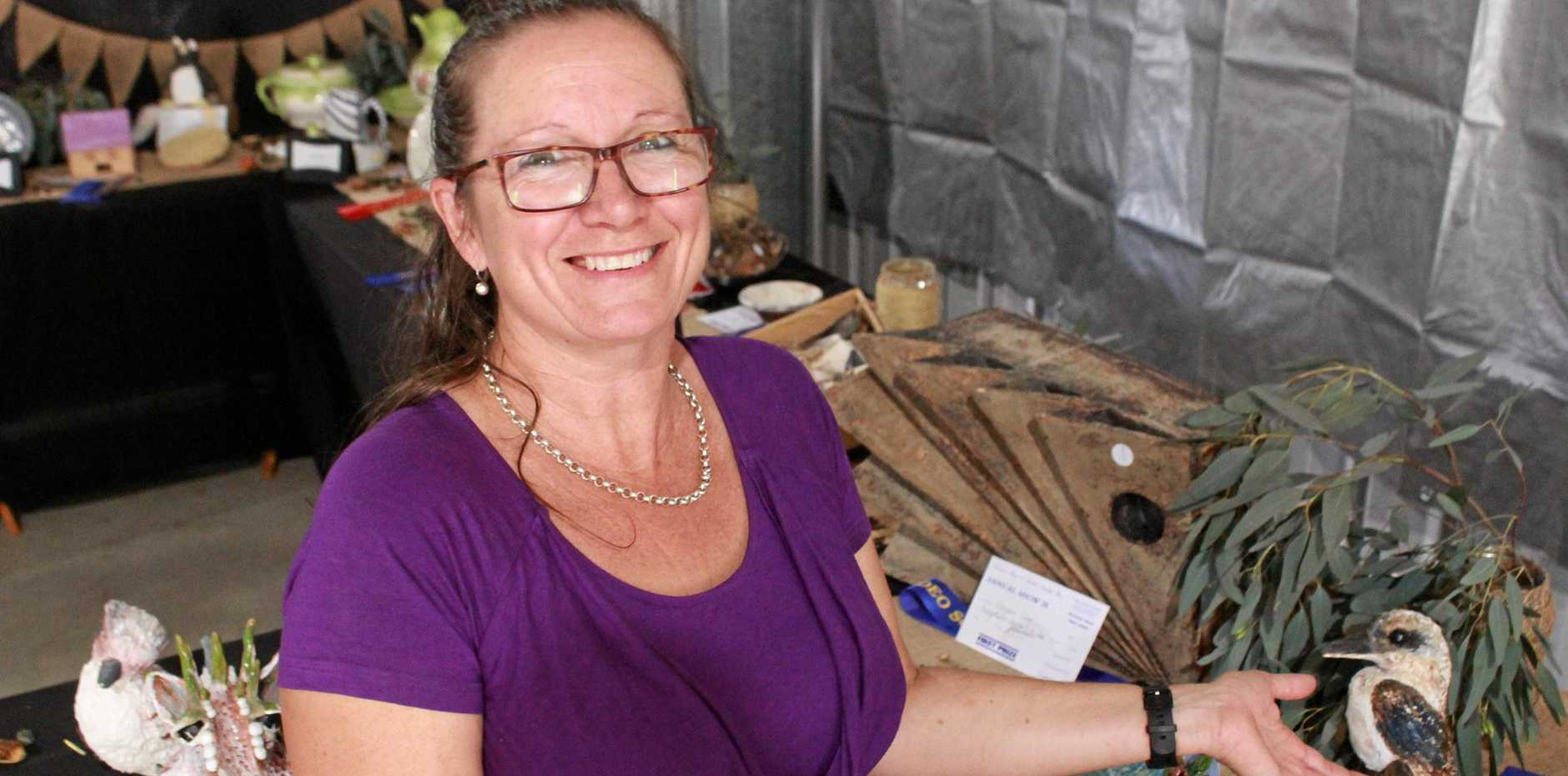 POTTERY CORNER: Penny Kiny runs the pottery section at the Warwick Show 2019.