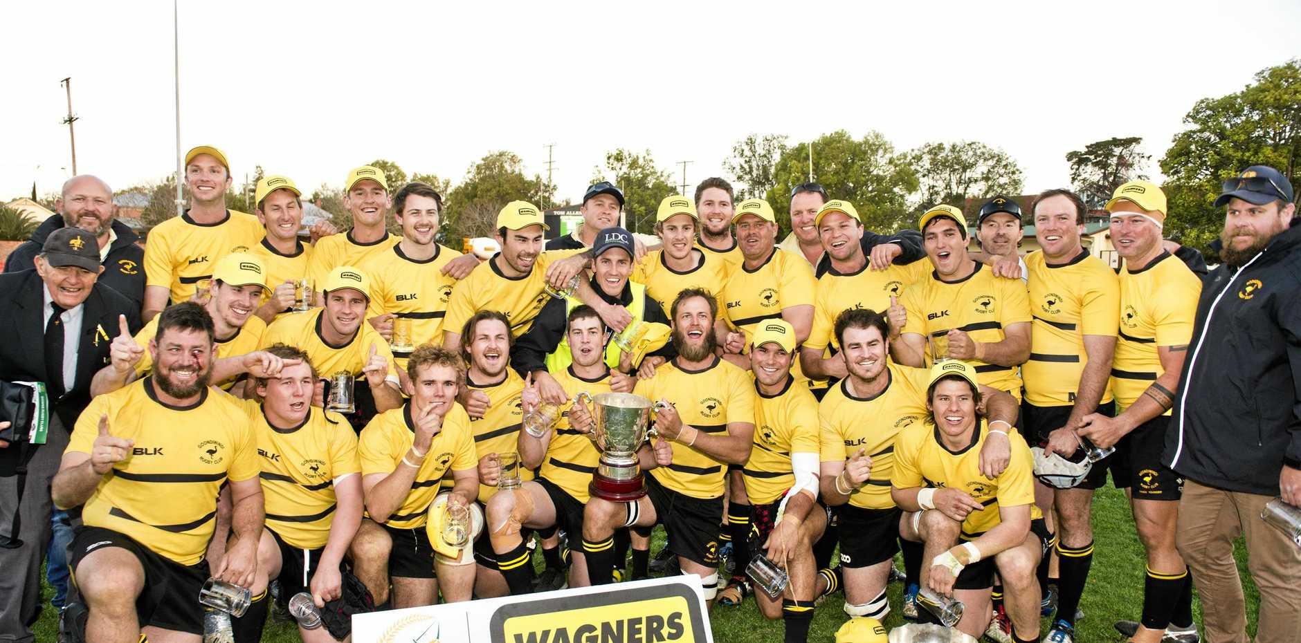 The Goondiwindi Emus celebrate their 2018 Risdon Cup victory over Dalby at Clive Berghofer Stadium.