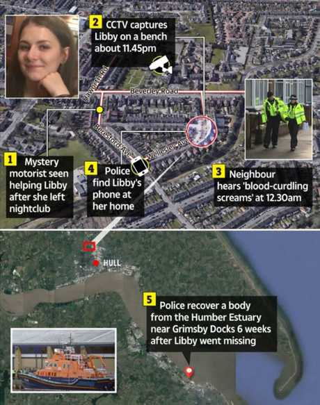 Map timeline of Libby Squire