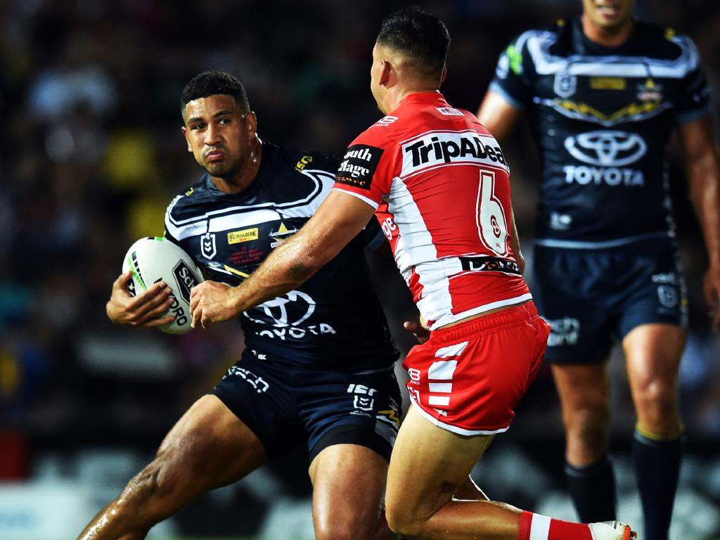 Round 1 game of the NRL Telstra Premiership between the North Queensland Cowboys v St George Illawarra Dragons from 1300 Smiles Stadium, Townsville. Cowboys Nene Macdonald. Picture: Zak Simmonds