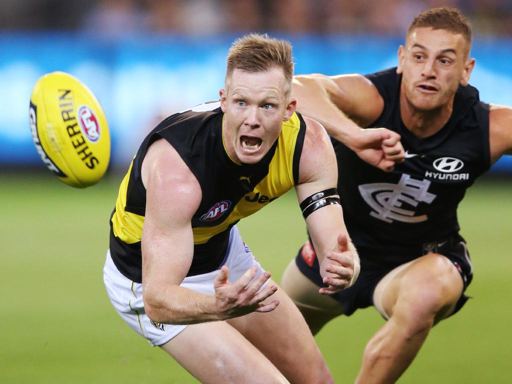 Jack Riewoldt and Liam Jones had a tight tussle all night.