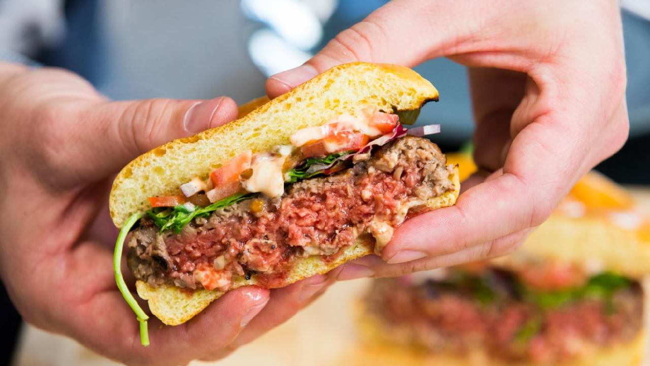 The Impossible 2.0 burger is made entirely from plants. Picture: Impossible Foods