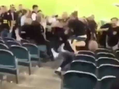 The fan in the Richmond jumper kept hitting another man when he was on the ground.