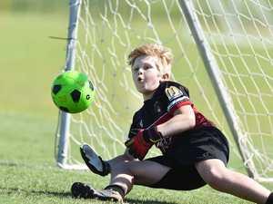 Junior Soccer. Caloundra's Jody Clarke.