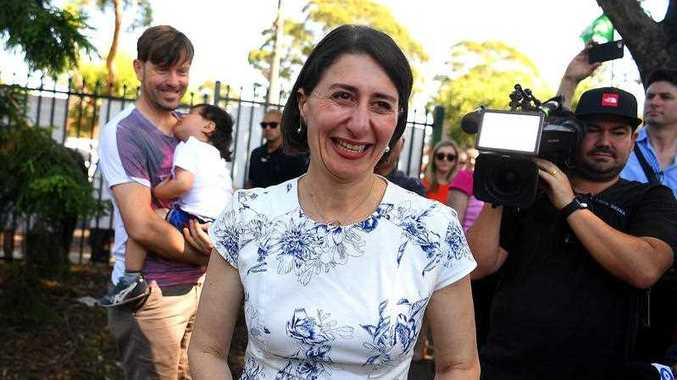 NSW Premier Gladys Berejiklian reacts during a visit to the Revesby Public School on 2019 New South Wales election day in Sydney, Saturday, 23 March 2019. New South Wales voters head to the polls in the state election today.