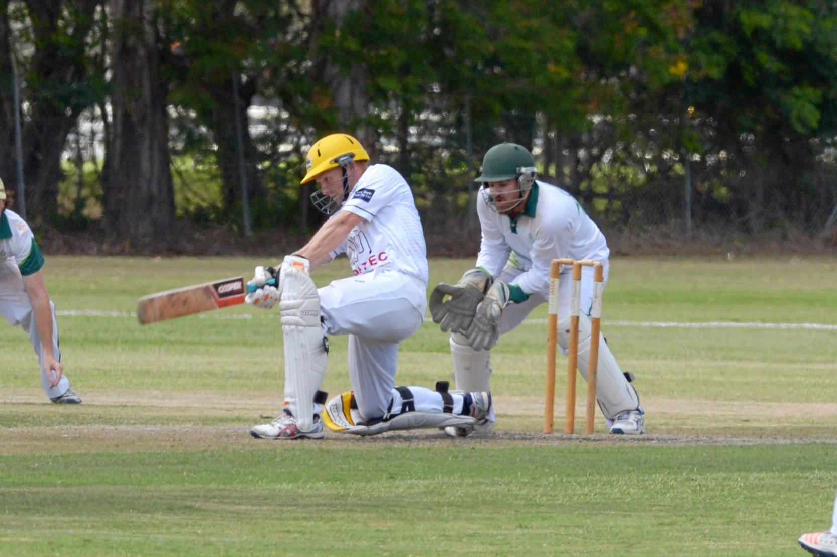 CRICKET CAPRICORN CHALLENGE: Gracemere's Todd Harmsworth at bat and Frenchville keeper Lachlan Hartley