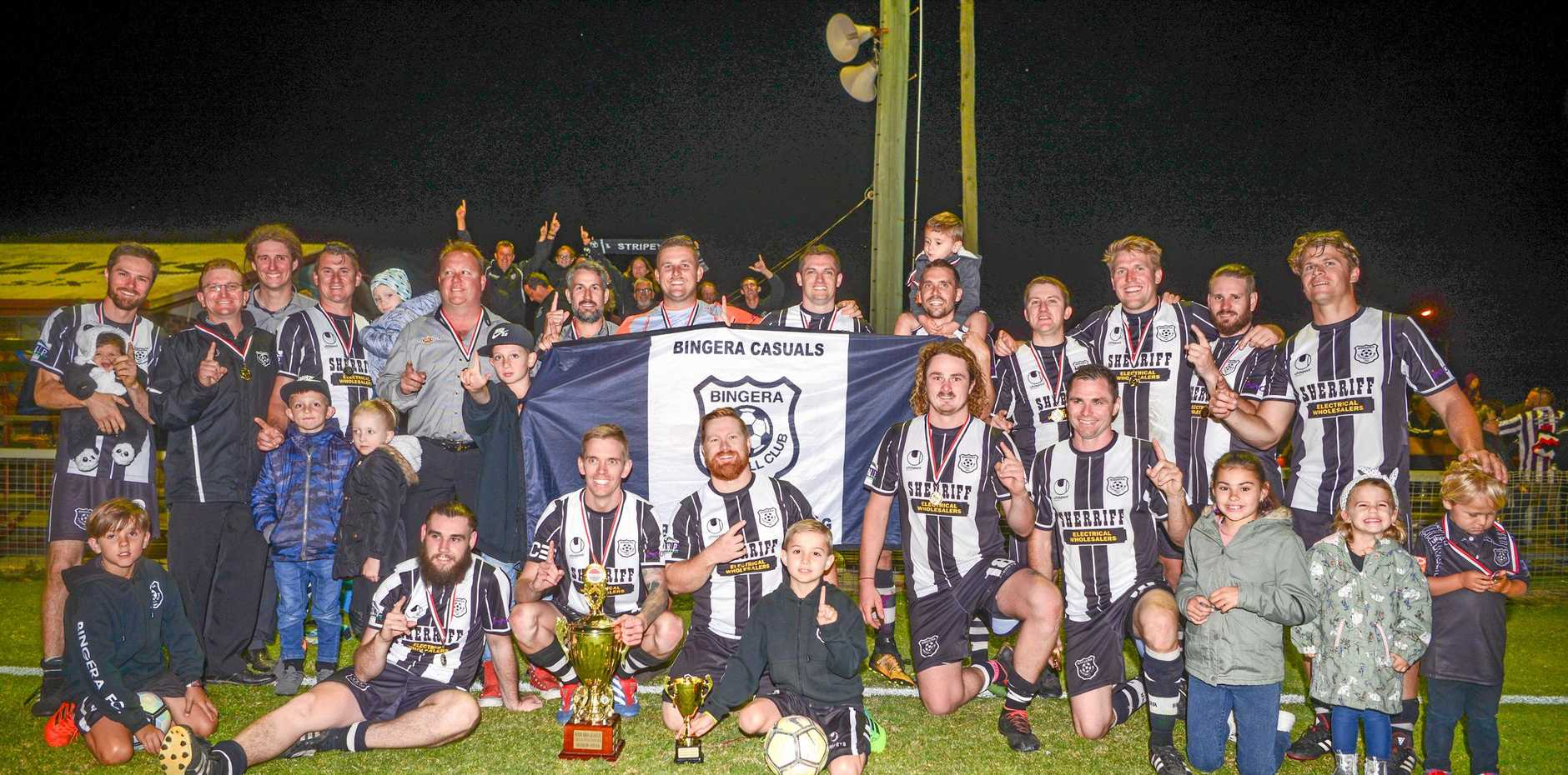 JUST HAVING A BALL: Bingera Football Club will be hoping for the same feeling this year after winning last year's Wide Bay Premier League.