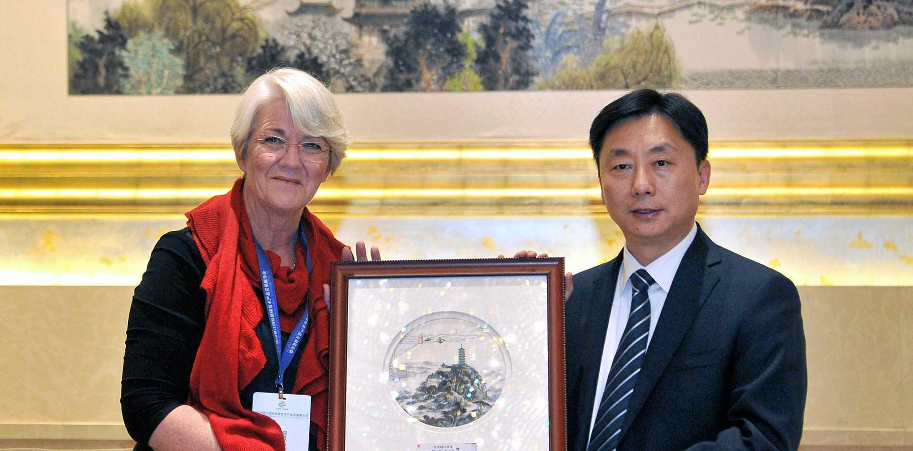 TRADE: Rockhampton Region Mayor Margaret Strelow with Xia Jinwen, Zhenjiang's Party Secretary.
