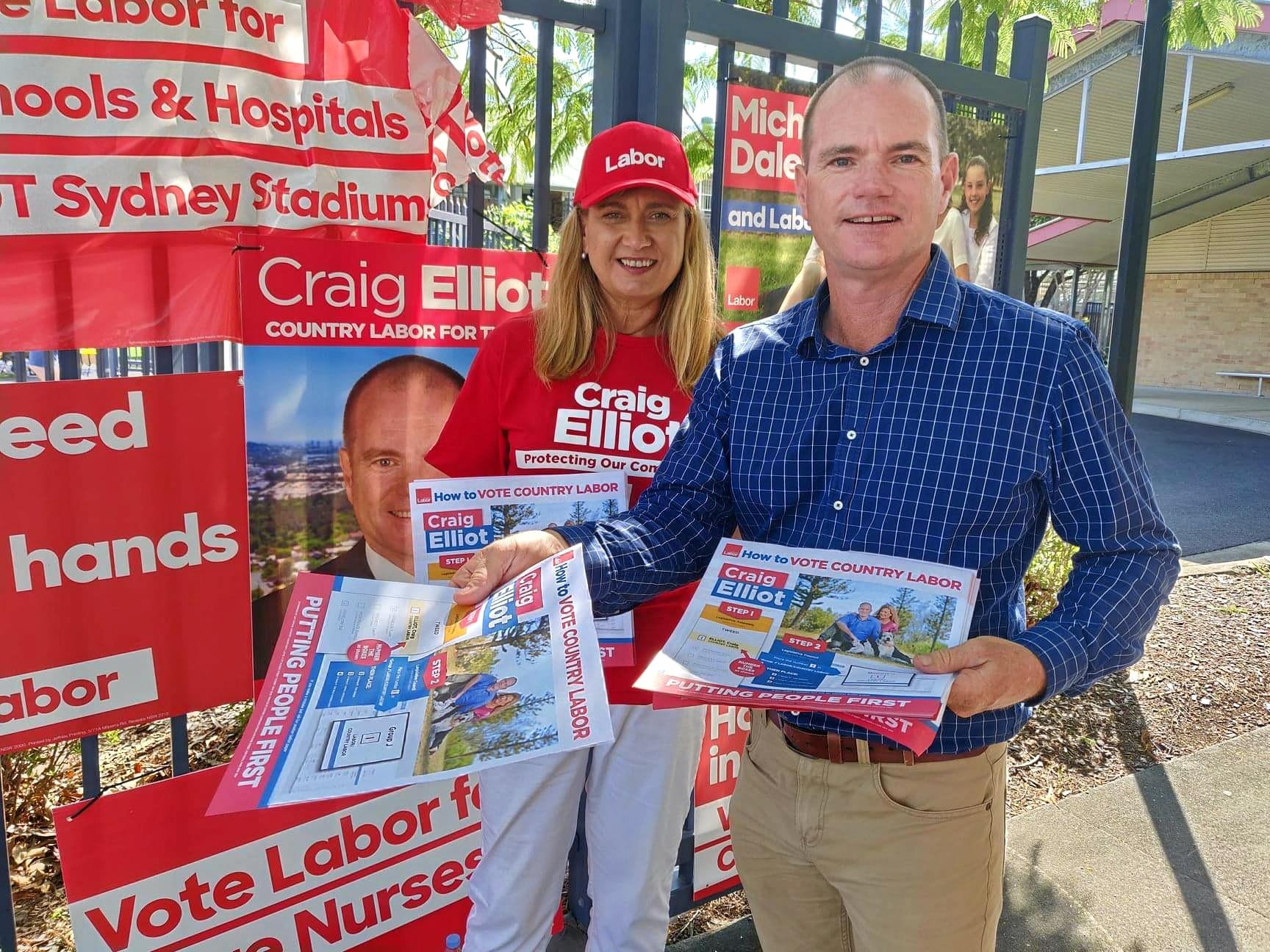 Federal Richmond MP Justine Elliot supports her husband and Labor candidate for Tweed Craig Elliot.