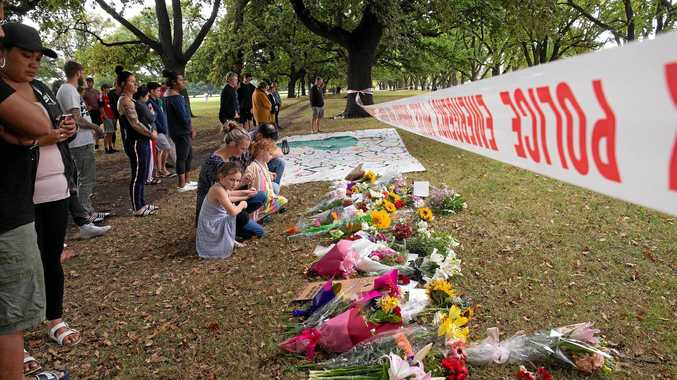 Flowers and messages of respect are placed in Hagley Park across from the mass shooting scene at the Masjid Al Noor, Christchurch, New Zealand, Saturday March 16, 2019.