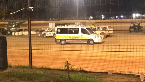 A man was struck by a race car at Bundaberg Speedway tonight