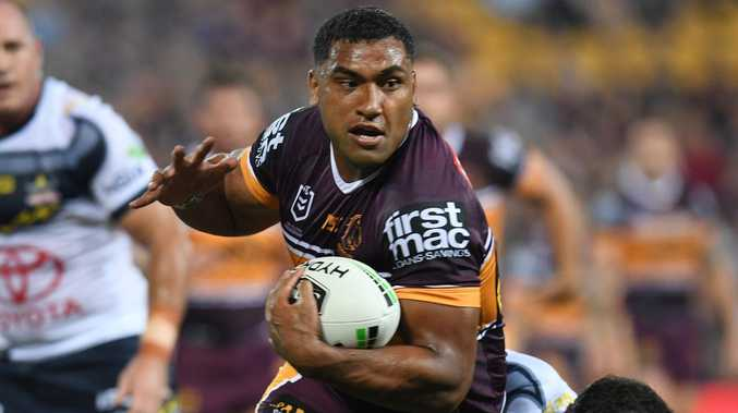 Tevita Pangai Jr on the attack for the Broncos on Friday night. Picture: AAP Image/Dan Peled