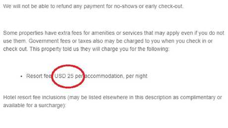 The resort fee was buried further down the hotel confirmation email.
