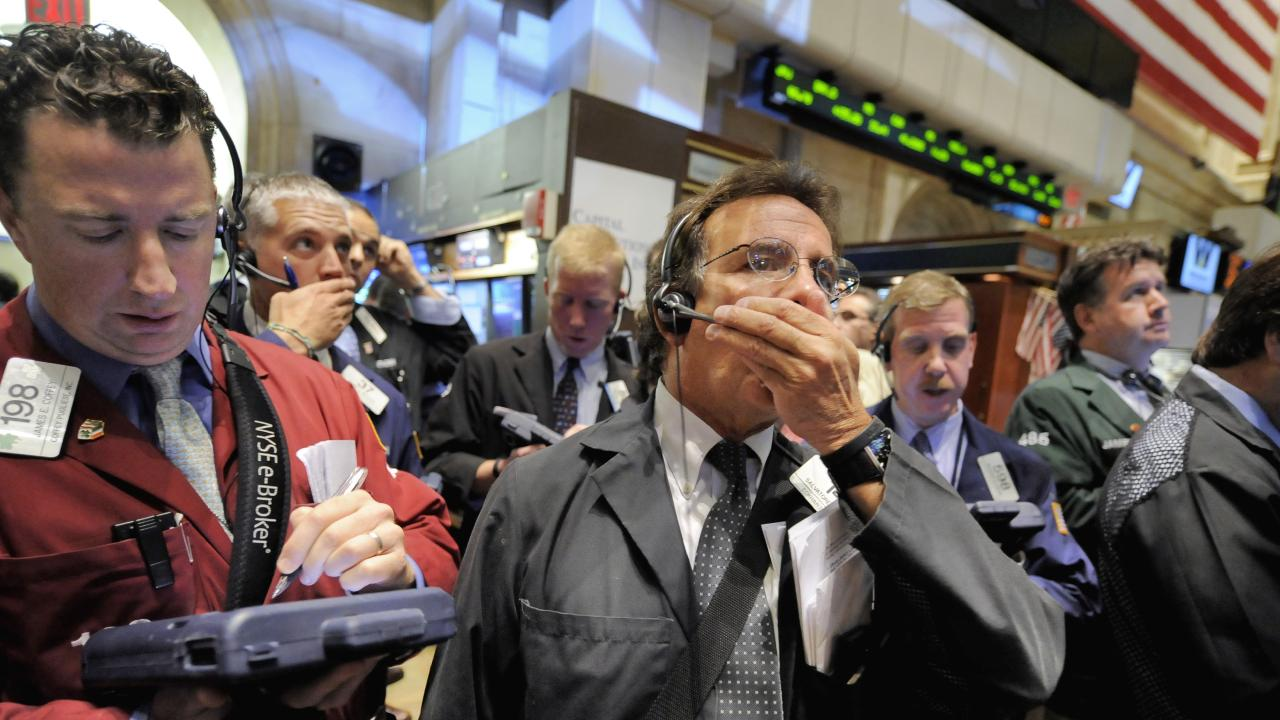 Traders on the New York Stock Exchange in 2008, during the GFC. Picture: AP