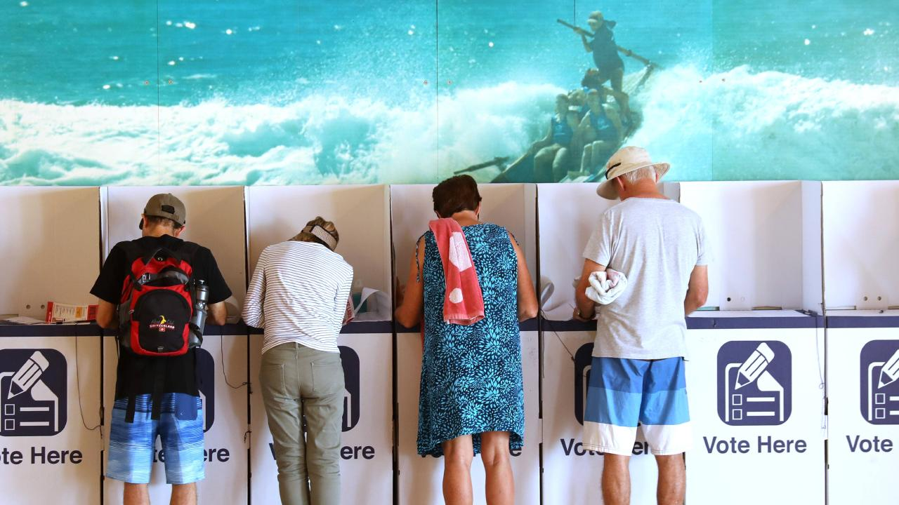 People voting in today's state election at Queenscliff surf club, Queenscliff, Sydney, 23rd March 2019. Picture by Damian Shaw