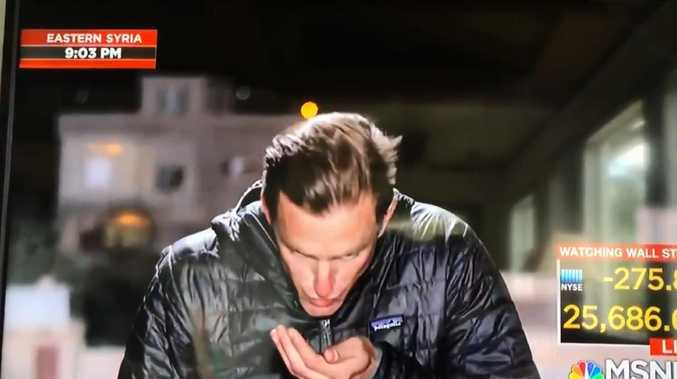 NBC reporter spits into his hand and wipes it in his hair live on TV.