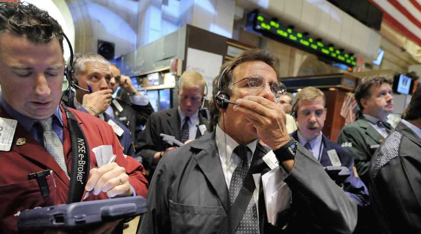 Traders on the New York Stock Exchange in 2008 during the GFC. Picture: AP