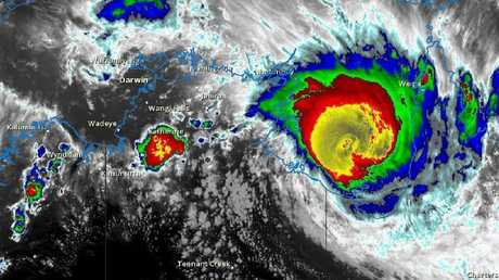 Satellite image from BOM showing tropical Cyclone Trevor bearing down on NT coast.
