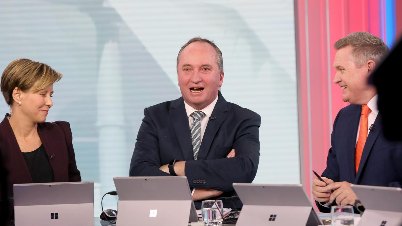 Barnaby Joyce on set at Channel 7 during their election coverage. Picture: Damian Shaw