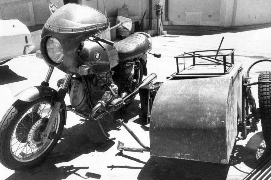 Timothy Thomson's motorbike and sidecar.