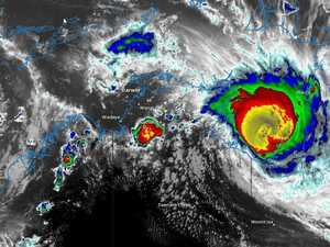 A satellite image from the Bureau of Meteorology showing Tropical Cyclone Trevor bearing down on the NT coast on Friday evening
