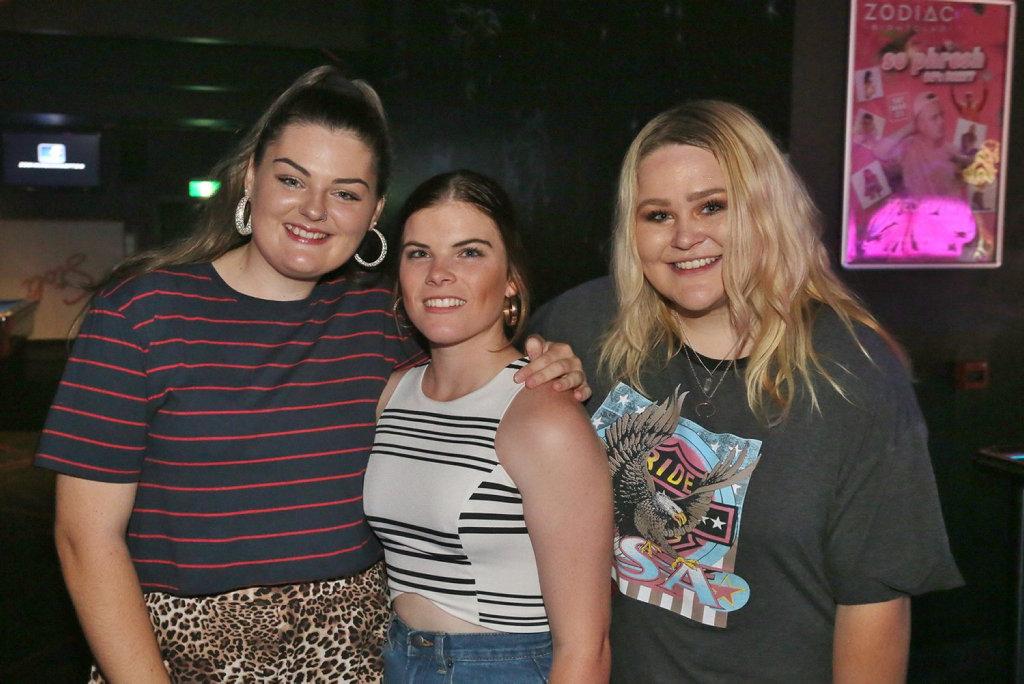 Image for sale: L-R Kody Mayes, Edwina Moretti and Cait Hughes at Zodiac Nightclub.
